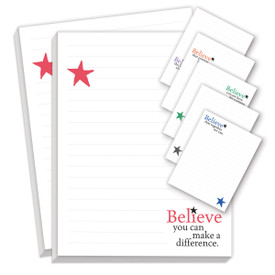 believe series notepads with six different messages