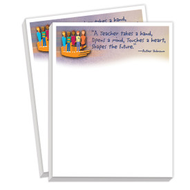 notepads with a teacher takes a hand message