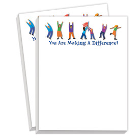 notepads with you are making a difference message