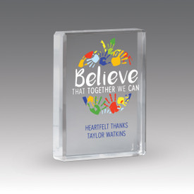 optic crystal paperweight with believe that together we can message