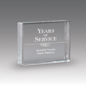 optic crystal paperweight with years of service message
