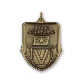 perfect attendance die struck solid brass medallion