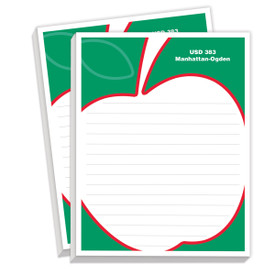 personalized notepads with large apple design