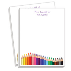 personalized notepads with colored pencil bottom border and from the desk of custom message on top border