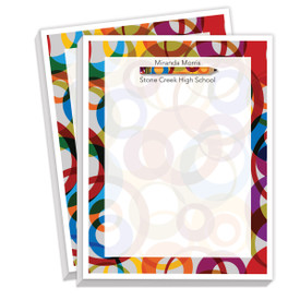 personalized notepads with colorful pencil and border