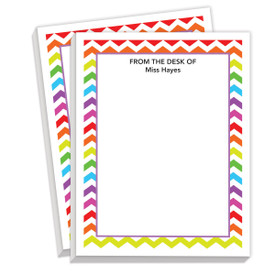 personalized notepads with colorful chevron design