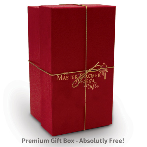 red gift box with gold elastic bow and The Master Teacher logo