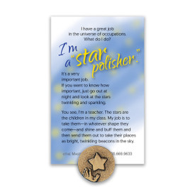 hand and star lapel pin with star polisher message card