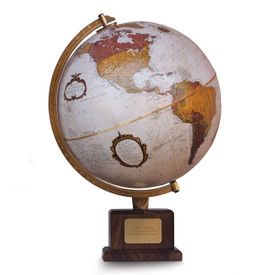 globe mounted atop a walnut base and personalized brass plate