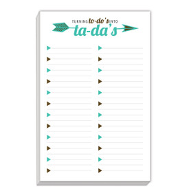 notepad with turning to-do's into ta-da's message