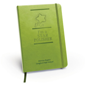green journal with Star Polisher message