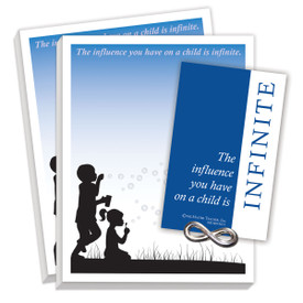gift package including lapel pin and 2 notepads with infinity message