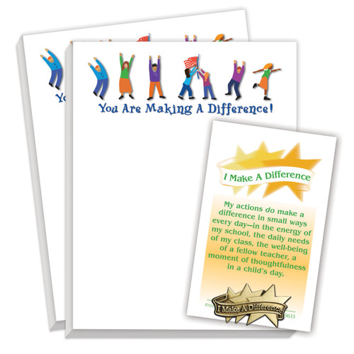 gift package including lapel pin and 2 notepads with making a difference message