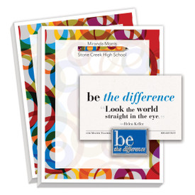 gift package including be the difference lapel pin and 2 personalized notepads