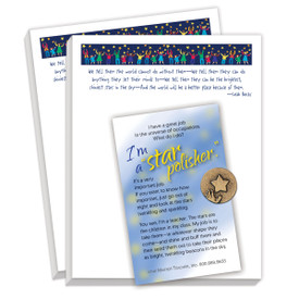 gift package including lapel pin and 2 notepads with star polisher message