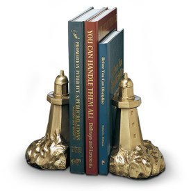 antique brass-finished lighthouse bookends