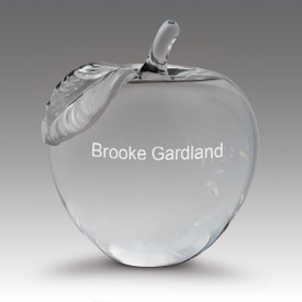 crystal apple with leaf and personalization