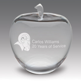solid optic crystal apple with personalization
