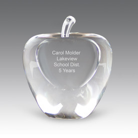 Handcrafted, solid optical crystal apple award with etched personalization.