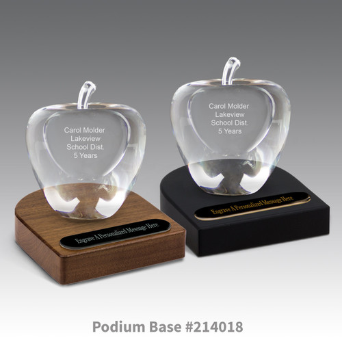 black and brown walnut podium bases with black brass plates and optic crystal apples with personalization