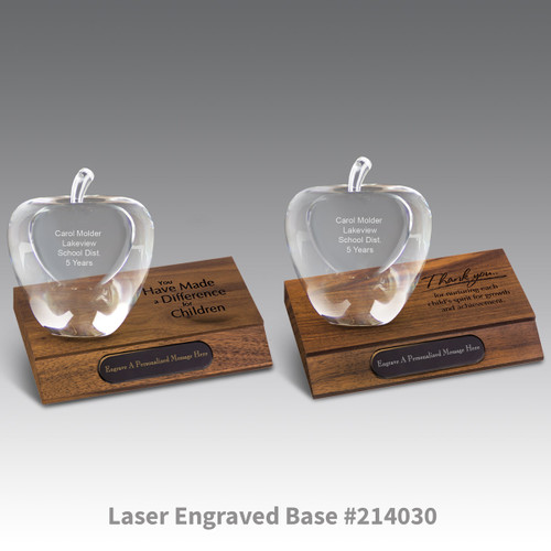 laser engraved walnut bases with black brass plates and optic crystal apples with personalization