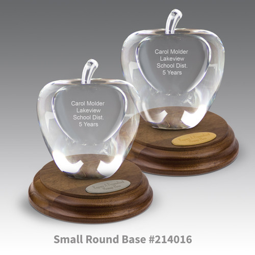 round walnut bases with brass and silver plates and optic crystal apples with personalization