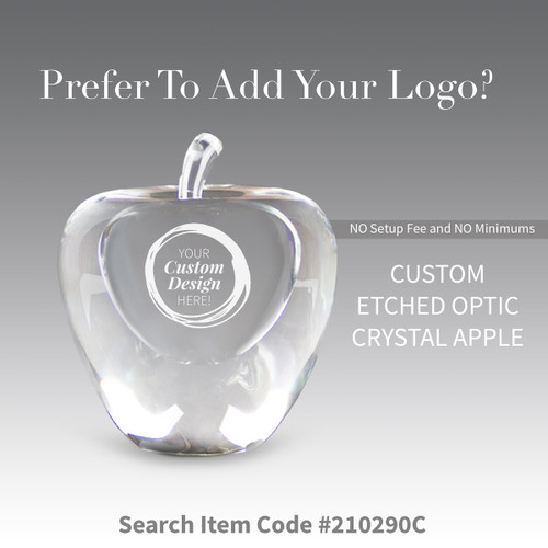solid optic crystal apple with create your own option