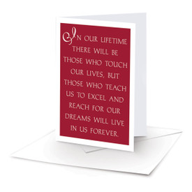 note card with in our lifetime message and envelope
