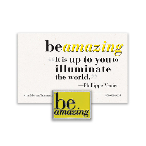 be amazing lapel pin with yellow background and message card