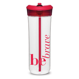 clear plastic water bottle with red flip-up spout and be brave message