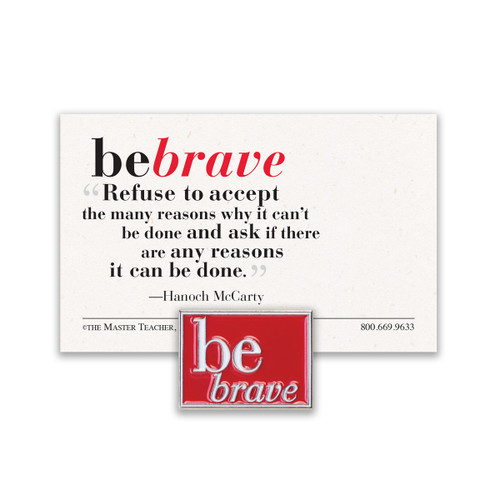 be brave lapel pin with red background and message card