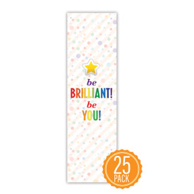 """Colorful 2"""" x 8"""" Student Bookmark That Reads """"Be Brilliant Be You"""" On The Front"""
