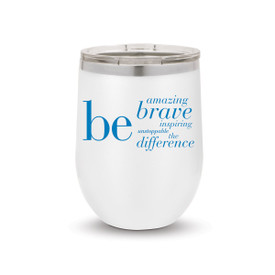 white 12 oz. stainless steel tumbler with be the difference message