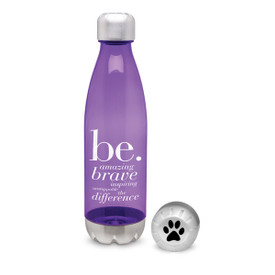 purple 25 oz. plastic water bottle with stainless steel base & cap with be collection message and logo