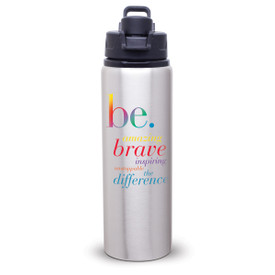 aluminum water bottle with be message and snap-fit lid with handle