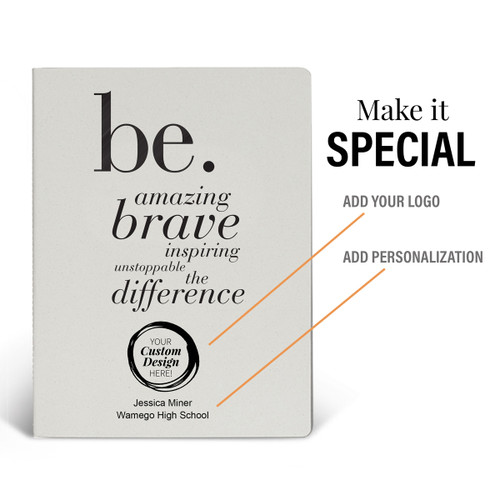 a white be collection appeel grande journal with add your logo and personalization