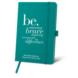 teal journal with be collection message and personalization