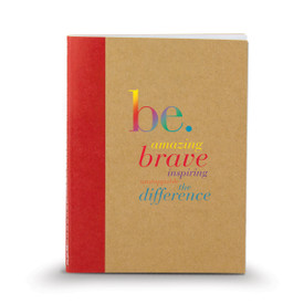 kraft memo book with red accent and be collection message