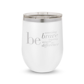 white 12 oz. stainless steel tumblers with be collection message