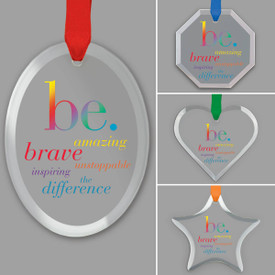 different shapes of crystal ornament with be collection message and satin ribbon