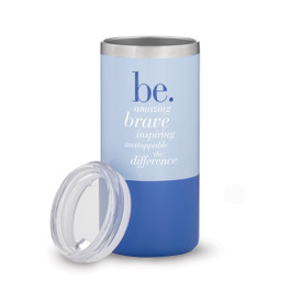 two tone blue stainless steel tumbler with be collection message
