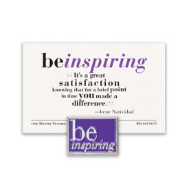 be inspiring lapel pin with purple background and message card