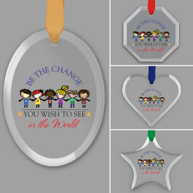 different shapes of crystal ornament with be the change message and satin ribbon