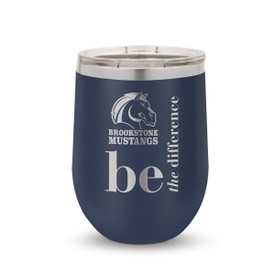 navy 12 oz. stainless steel tumblers with be the difference message and logo