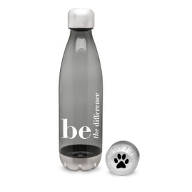 "This Gray Water Bottle with Stainless Steel Base & Cap Holds 25 oz. and Features the Inspirational Message ""Be The Difference"""