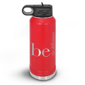 32oz. stainless steel water bottle featuring the inspirational message Be The Difference. 9 colors to choose from.