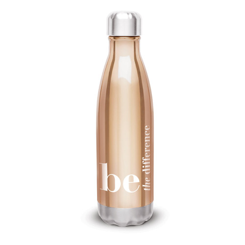 copper stainless steel water bottle with be the difference message