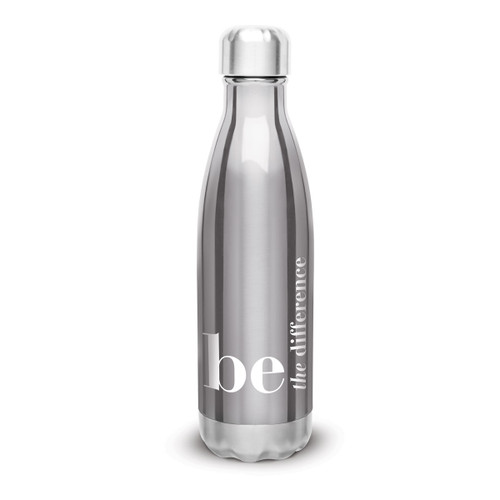 silver stainless steel water bottle with be the difference message