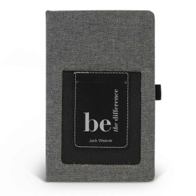 Canvas journal with phone pocket and card holder featuring the inspirational message Be The Difference. 3 colors to choose from.