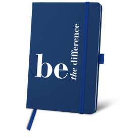 """This Colorful Hardbound Journal Features the Message """"Be The Difference"""" – Personalize and Add Your Logo"""